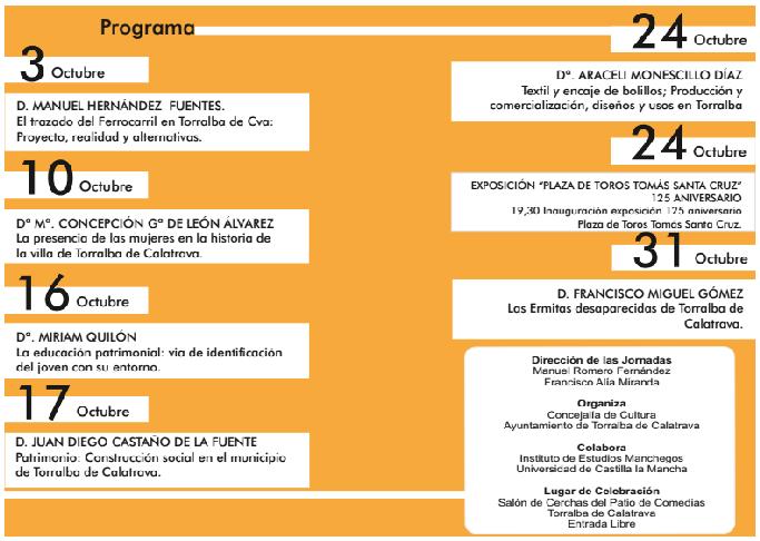 Programa de las XII Jornadas Monográficas sobre Torralba de Calatrava
