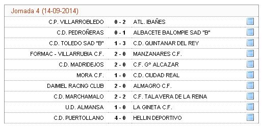 Resultados Tercera Division 14092014