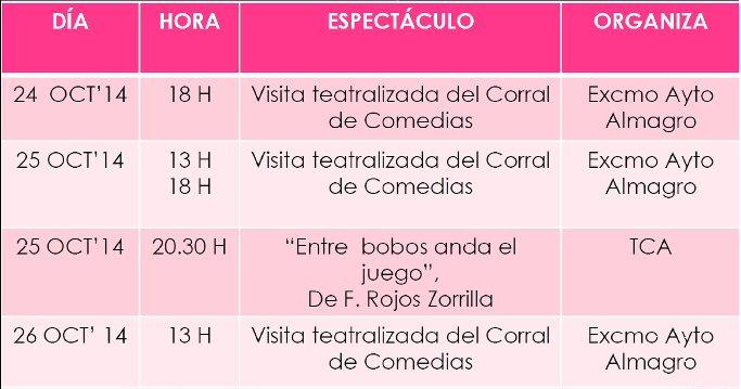 Agenda Cultural Almagro fin de semana del 24 al 26 de Octubre - Corral de Comedias