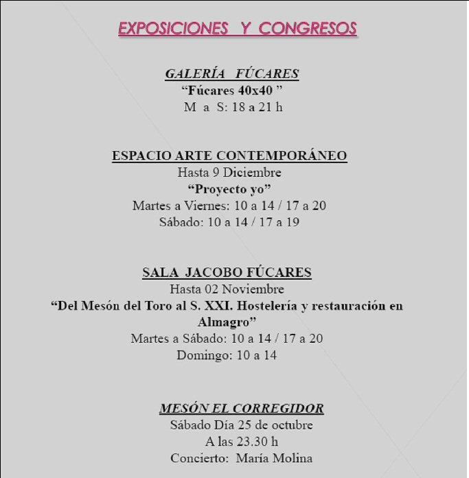 Agenda Cultural Almagro fin de semana del 24 al 26 de Octubre - Exposiciones