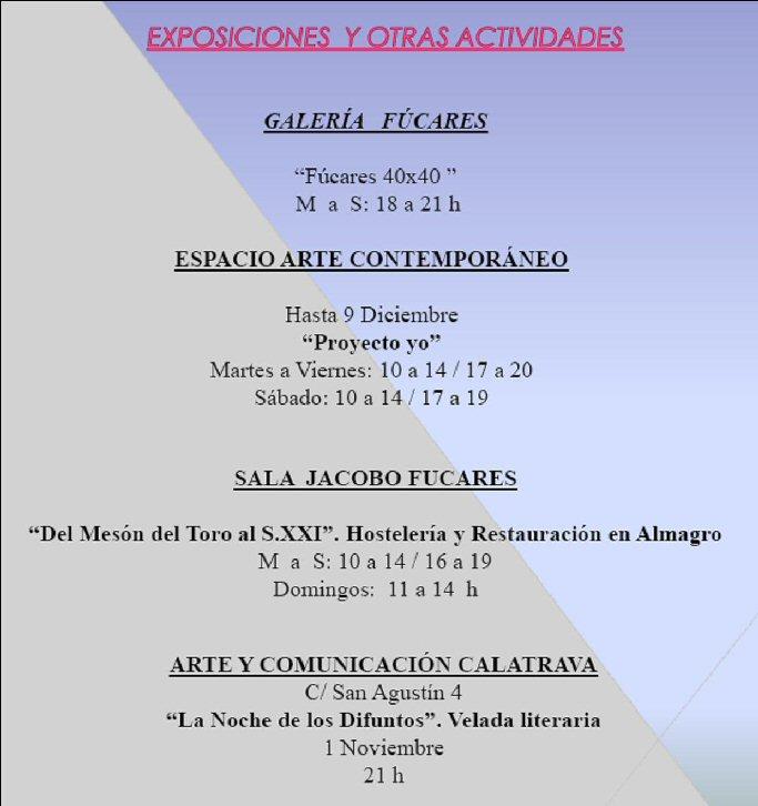 Almagro Agenda Cultural para este fin de semana del 31 Octubre al 2 de Noviembre 02