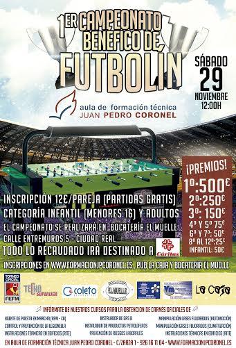 Ciudad Real acogerá el 29 de noviembre el I Campeonato Benéfico de Futbolín Aula de Formación Juan Pedro Coronel