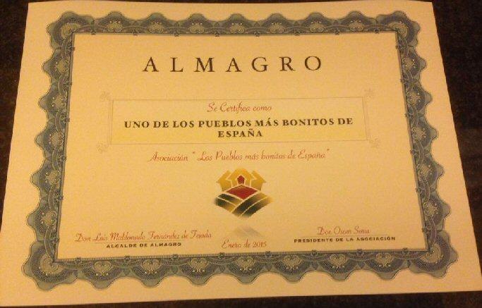 certificado almagro uno de los pueblosmas bonitos de españa