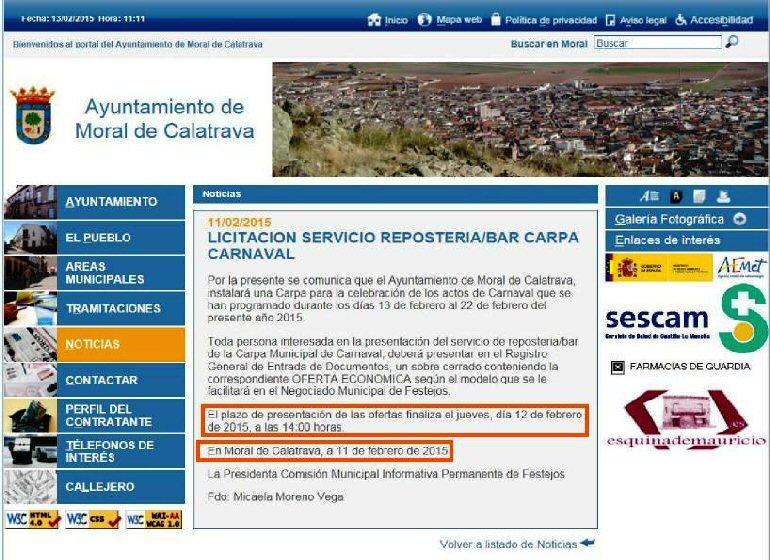 Moral de Calatrava El PSOE denuncia la adjudicación prácticamente a dedo del servicio de repostería de la Carpa del Carnaval por parte de la alcaldía