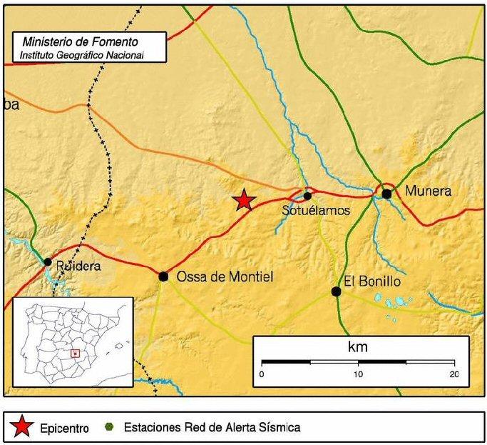 Un terremoto con epicentro en Ossa de Montiel, Albacete, se deja notar en todo el centro de España