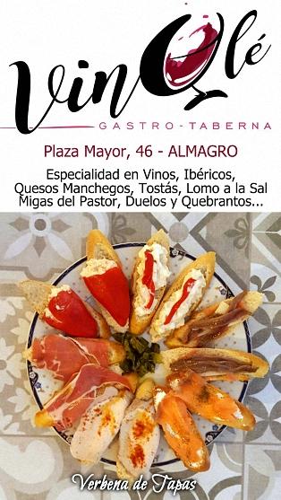Taberna VinOlé - Plaza Mayor, 46 - ALMAGRO - Especialidad en Vinos, Ibéricos, Quesos Manchegos, Tostás, Lomo a la Sal, Migas del Pastor, Duelos y Quebrantos...