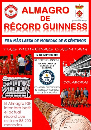 Record Guinness Fila más larga de monedas de 5 céntimos -  ALMAGRO FSF