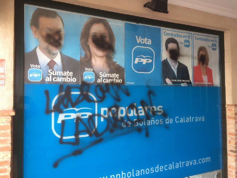 Bolaños Aparecen pintadas en la sede del Partido Popular