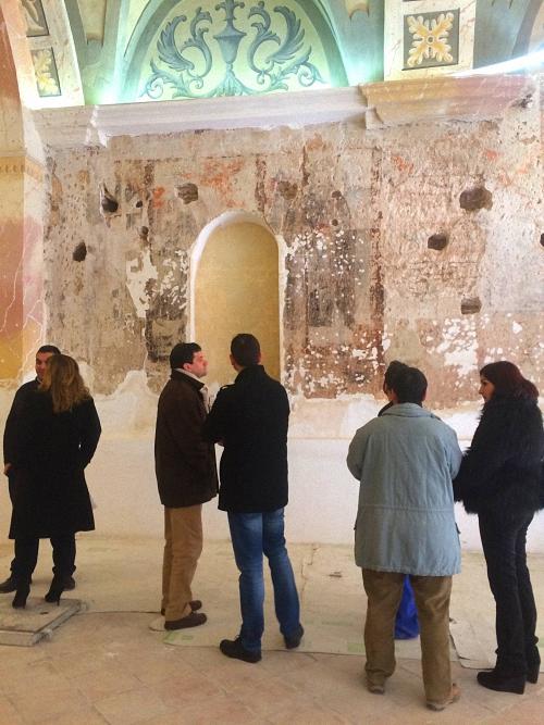 Bolaños continúa con las labores de restauración para consolidar las pinturas murales de la Ermita del Cristo de la Columna