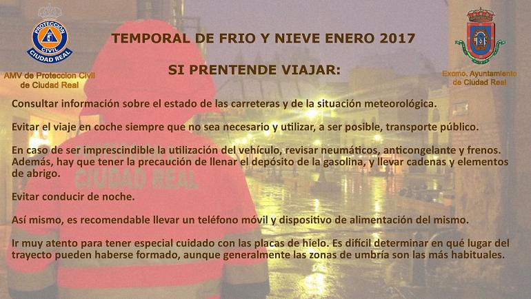 Temporal Frio Y Nieve Protección Civil de Ciudad Real