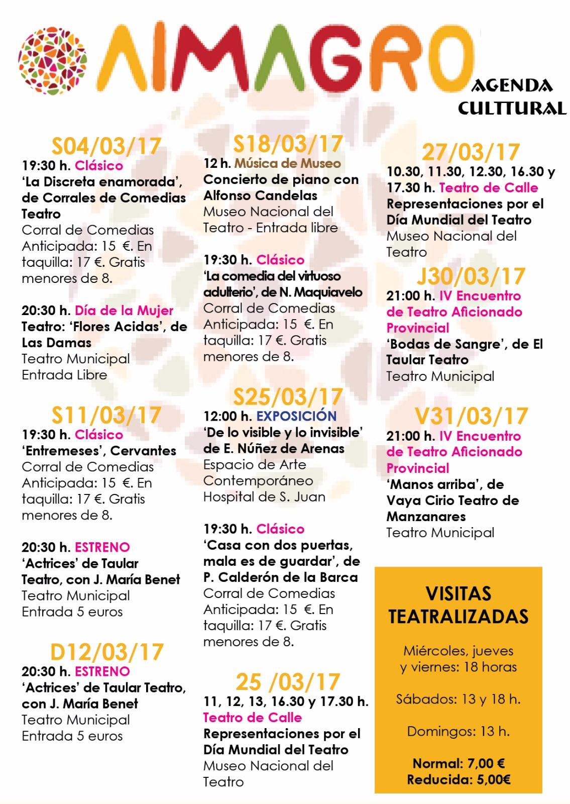 Almagro Agenda Cultural Marzo 2017