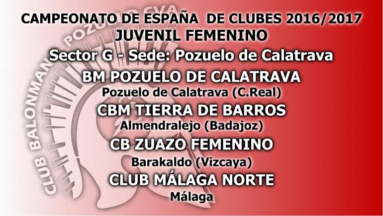 Pozuelo de Calatrava será la sede del Sector G del Campeonato de España de Clubes 2016 2017 Juvenil Femenino