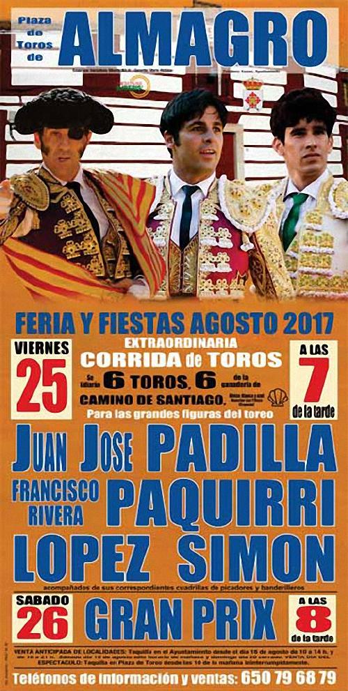 cartel de toros feria y fiestas almagro 2017