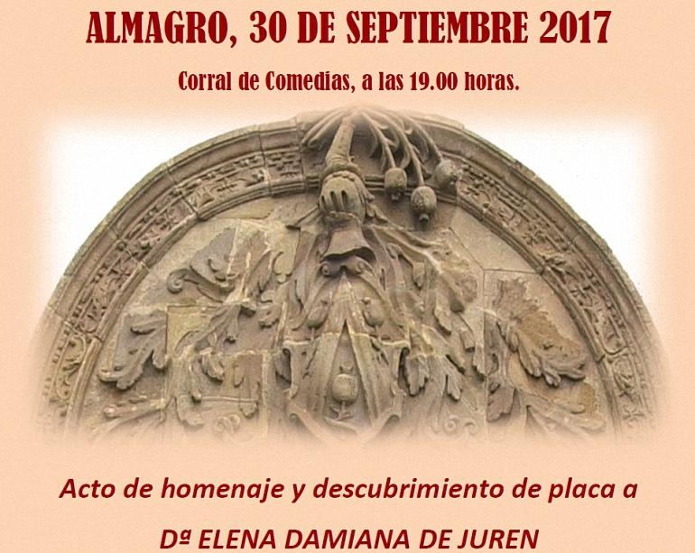 Almagro rendirá homenaje este sábado a Elena Damiana de Juren con una placa en el Corral de Comedias