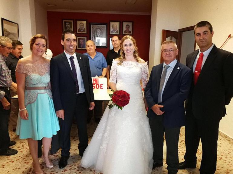 Equipo de Gobierno Socialista del Ayuntamiento de Almagro en la boda de Maria Jesús Villaverde Malagón