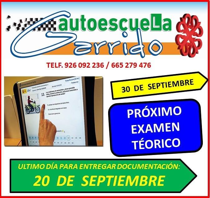 Autoescuela Garrido - Próximo Exámen Teórico: 30 de Septiembre